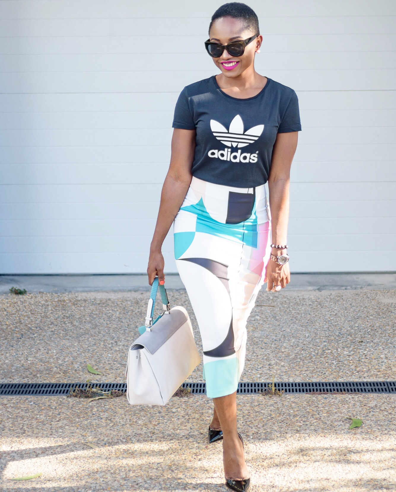 Sporty chic…… with my adidas tee