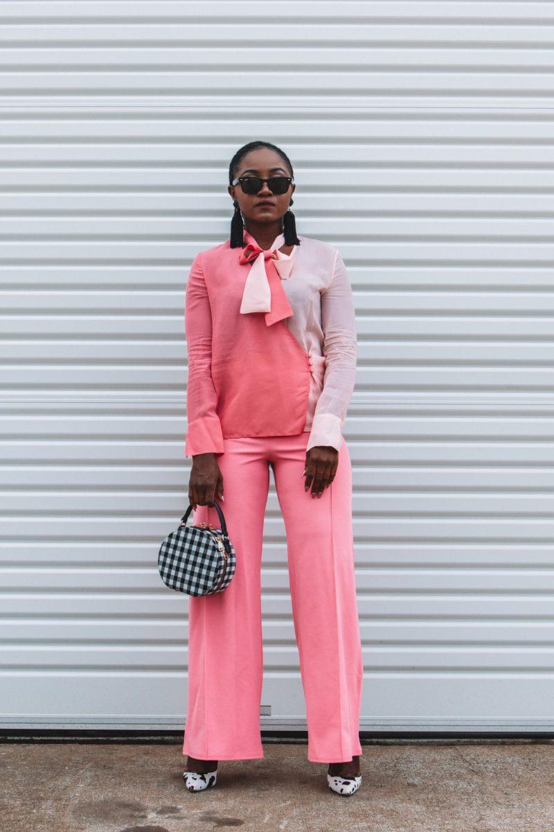 I wear pink to celebrate women on International Women's Day